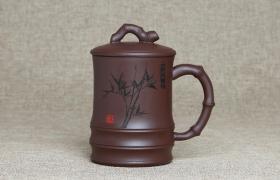 紫砂杯大竹报平安原矿朱泥紫砂杯紫砂杯适合泡什么茶?