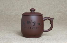 紫砂杯四季飘香原矿朱泥紫砂杯紫砂杯适合泡什么茶喝?